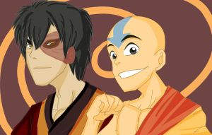 Zuko and Aang by cheeryOs