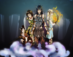 Archdruid Ailyll and Followers by MelanieLC