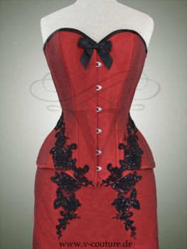 Red dupioni silk corset by v-couture-boutique