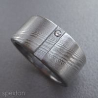 Stainless Damascus Diamnd Ring by Spexton