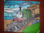 Oliver Great Western Engine Artwork Drawing by NWeezyBlueStars23