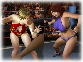 02 Both Wrestlers Face Off by cpunch
