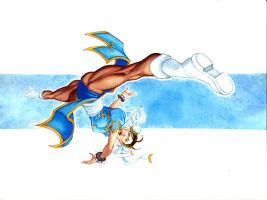 Chun-Li Spinning Bird Kick Pin-Up Watercolor by RobertDanielRyan