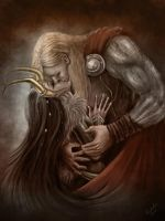 Thor and Loki kiss by Fatalis-Polunica