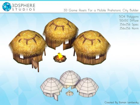 3D Low Polygon Caveman Huts by Poopgoblyn