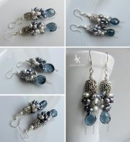 Silver cluster earrings with pearls by JSjewelry