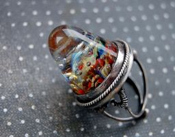 Ring sterling silver with lampwork cabochon by honeypunk