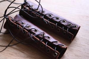 SD Brown Leather Bracers by Slersk