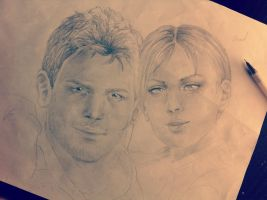 Chris and Jill Drawing by Captain1Yazeed