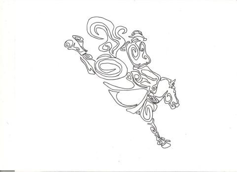 Bareback bronc riding, tribal tattoo design by countrygirllover