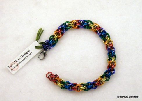 Rainbow inverted round chainmaille bracelet by typhoid-lori