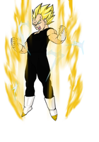 Vegeta Powers Up colored by darkhawk5