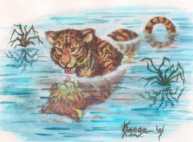 Tiger in the water by OmegaLioness