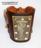 Wristcuff - Etched Art Nouveau Floral by Steampunked-Out
