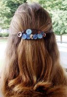 Blue and Brown Button Collage Barrette by annjepsen