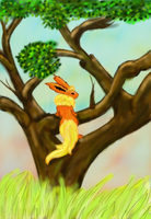 Flareon in a tree by kristhasirah