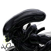 Digital Sketch Warmup - 19 Xenomorph #HRGIGERRIP by Vostalgic