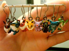 FINISHED Eeveelution Earrings by nemuineko85