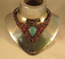 'Czarina'  Copper Wire Wrapped Collar by KarenOlwen