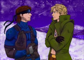 Solid Snake vs Liquid Snake by Darksand17