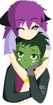 Moon and Beastboy by Midnightthedarkdrago