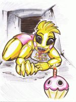 The New Chica from FNAF Fanart by TheCurlyBunny