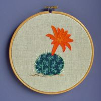 orange flowered embroidery catus by Debbiemade