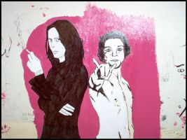 Ville and Bam on Pink by divvish