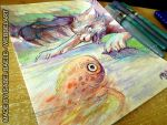 fish and the wolf : Aquarell by tikopets