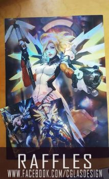 Art raffles:Foil Mercy poster and postcards! by CGlas