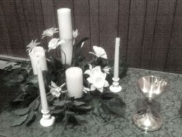 Candles and Chalice Blurry by PhotoStox