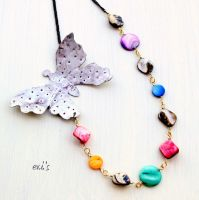 Metal Butterfly with Mother of Pearl Shell Beads by IoannaEvans