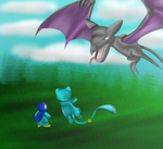 Younglings battle- Riley and jupiter vs Aerodactyl by charliethemew012