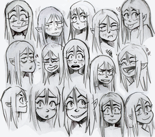 Character designs - Green Haired girl by nikkinack
