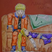 NaruIno: The Couch by Labbess