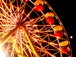 Night Ferris Wheel And Moon by LDFranklin