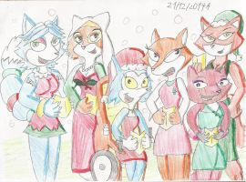 12 Christmas: six vixens caroling by CAPTAIN-CHETO