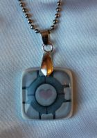Portal-Companion Cube Necklace by OcularFracture