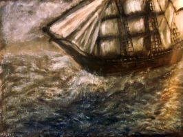 Ship in Storm - Oil Painting by masaad