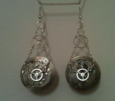 Clockshield Earrings by LeviathanSteamworks
