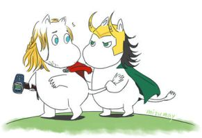 Moomin Thor and Loki by komizumay