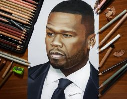 Colored Pencil Drawing of 50 Cent by JasminaSusak
