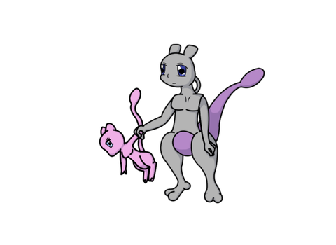 Mewtwo and Mew by RawrSheepy