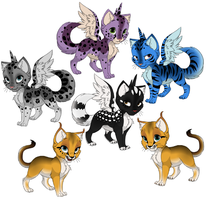 Winged kittens and linxes by DemonSheyd500025