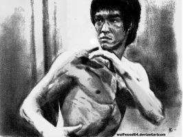 BRUCE LEE SKETCH PORTRAIT by wulfwood04