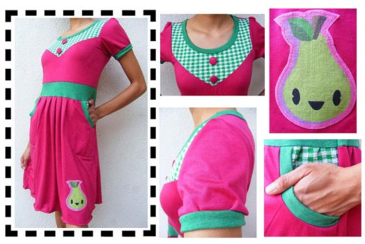 Pocketed Happy Pear Dress OOAK by 231705