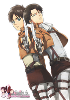 Render: Shingeki no kyojin - Eren and Levi by Panelletdelimon