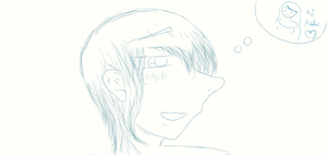 Ashtin thinkin about Sam eue by FluffehPickleLivi