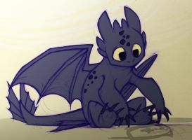 Toothless draws a fish by TheTundraGhost