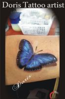 Blue 3d butterfly tattoo by doristattoo